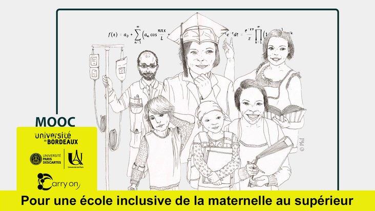 Illustration du MOOC : des enfants malades, entourés d'enseignants, de soignants et de chercheurs
