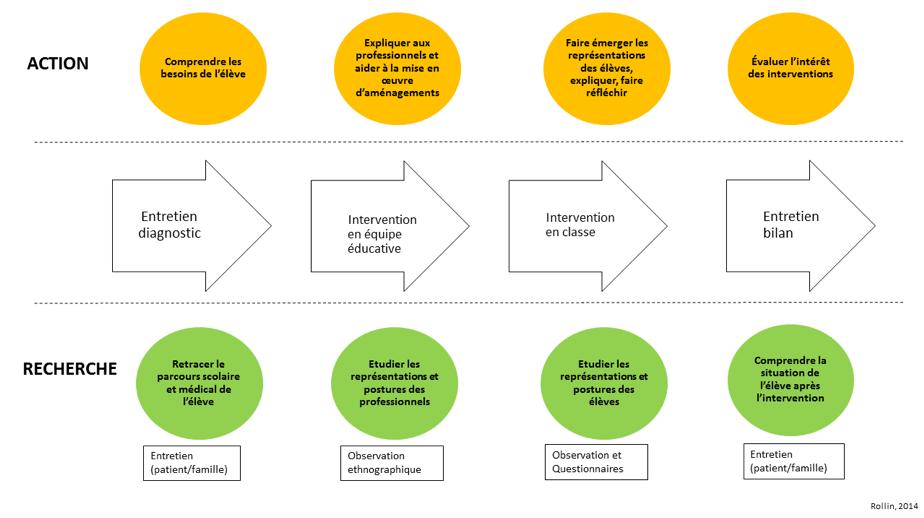 Le schéma présente la méthodologie de la démarche de recherche-action. D'abord, est mené un entretien diagnostic, qui du côté de l'action permet de comprendre les besoins de l'élève et du point de vue recherche, de retracer son parcours scolaire et médical. Dans un deuxième temps, est proposée l'intervention en équipe éducative. Du point de vue action, l'objectif est d'expliquer aux professionnels la situation du jeune et de négocier des aménagements. Du point de vue recherche, l'idée est d'observer la réunion pour mieux comprendre les représentations et les postures des professionnels. Dans ce même temps, de manière complémentaire, est proposée l'intervention en classe. Cette intervention permet de faciliter le retour en classe de l'élève malade. Du côté recherche, l'idée est d'observer la situation pour mieux comprendre les représentations et les postures des élèves. Enfin, un entretien bilan est réalisé qui permet d'évaluer sur le plan de l'action et de comprendre sur le plan de la recherche.